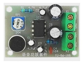 Mini Placa Amplificada C/mic Eletreto 5v Montada Ci Lm386