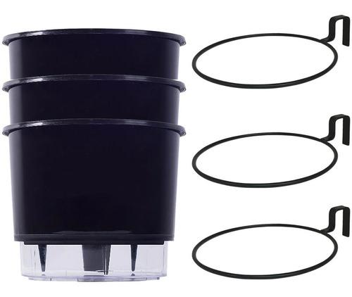 Imagem 1 de 7 de Jogo 3 Vaso Auto Irrigáveis Médio N3 Preto 3 Suporte Treliça