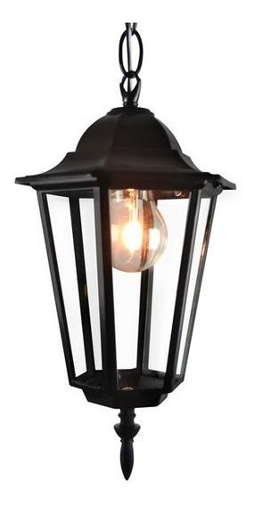 Lanterna Colonial Com Corrente Preta Luminária Lustre