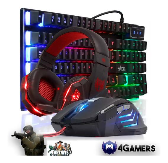 Kit Gamer Pc Barato - Mouse + Headset + Teclado Rgb Mecânico