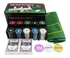 Jogo Poker 200 Fichas Com Baralho E Toalha