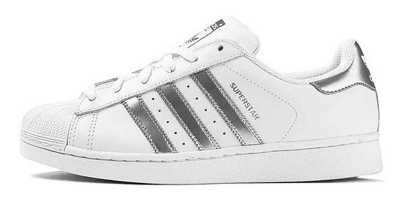 Tênis adidas Superstar Branco Com Prata Original Em Promoção