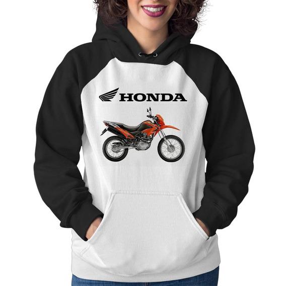 Moletom Feminino Moto Honda Nxr 150 Bros Laranja