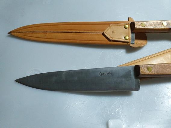 Cuchillo Encina Cabo Madera De 22.5cm De Punta + Vaina Cuero