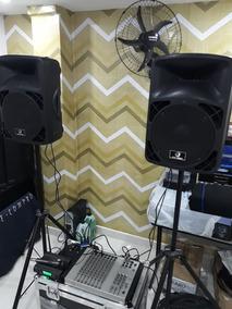 Kit De Som Par De Caixa Mesa E Microfone Sem Fio