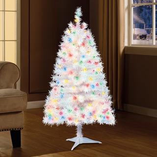 Árbol De Navidad Blanco Con Luces Multicolor 1.21 Cms