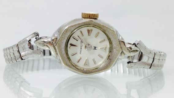 Reloj Marca Hamilton Oro Blanco De 10k P/dama (inv 653)