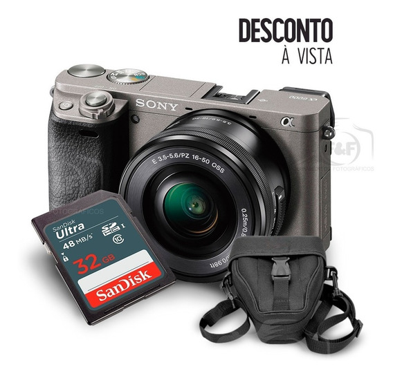 Câmera Sony A6000 Kit 16-50mm + Sd32gb + Case + Tripé + Nfe
