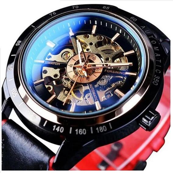 Relógio Forsining Esqueleto Automático Couro Original