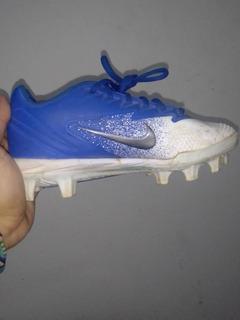 Spike Nike Talla 21 Color Azul Y Blanco (medio Uso)