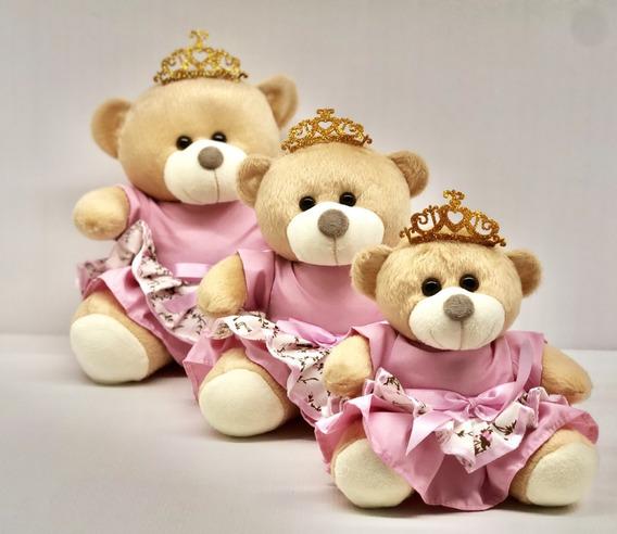 Trio De Ursinhos Para Nichos 15cm 20cm 25cm - Princesa Coroa