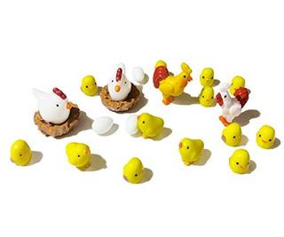 Dotebpa 22 Piezas De Pollo En Miniatura De La Familia Cockhe