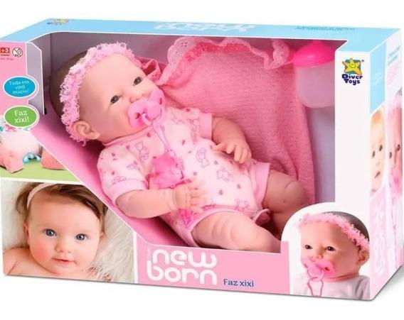 Boneca Bebê Menina Estilo Reborn Faz Xixi C/ Chupeta Newborn