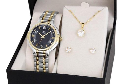 Relógio Feminino Caixa E Pulseira Mista Champion Cn20444n