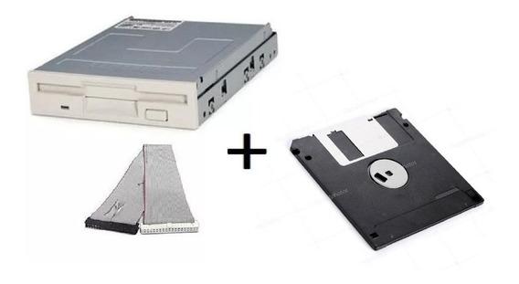 Floppy Drive Disquete + Cabo De Dados + Diskete