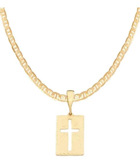 Cordão Rommanel Masculino 60cm + Medalha Cruz 540104 530614