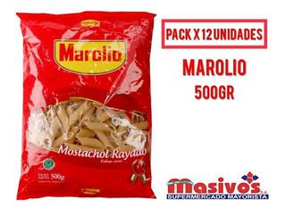 Fideos Mostachol Rayado Marolio Caja X 12 Paquetes De 500 Gr