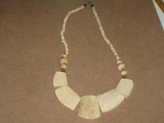 Antiguo Collar Hueso Asiatico Material Noble Y Cuentas