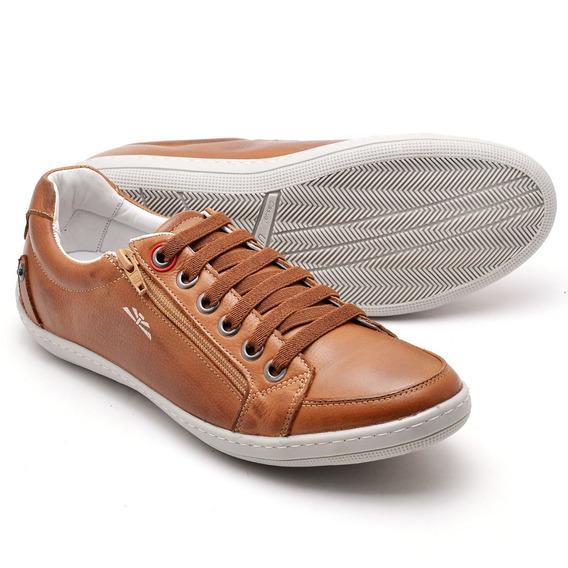 Sapato Sapatênis Masculino Em Couro Cano Baixo Zíper Casual