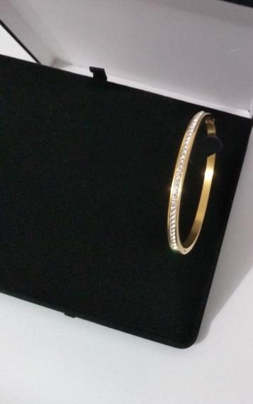 Bracelete Pulseira Feminina Banhado Ouro Zircônia