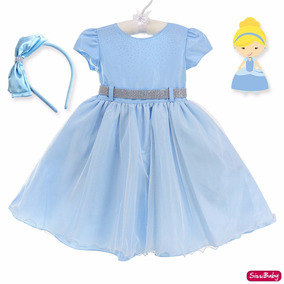 Vestido Cinderela Frozen Alice Infantil Super Luxo E Tiara