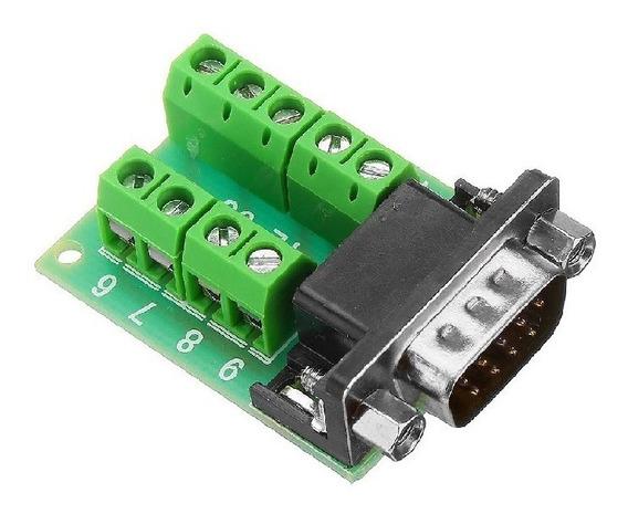 Módulo Adaptador Db9 Serial Rs232 Macho Com Borne