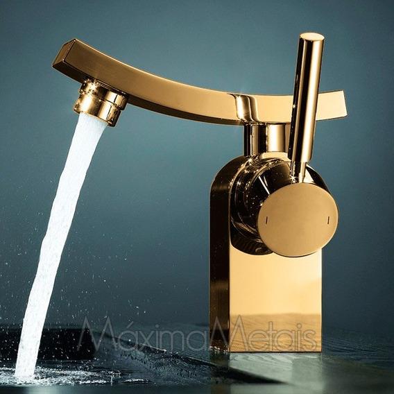 Torneira Misturador Monocomando Banheiro Lav Melody Dourada