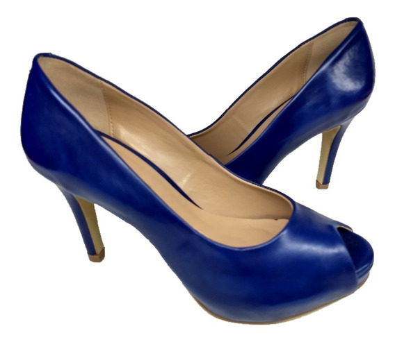 Sapato Feminino Meia Pata Peep Toe Aberto Azul Marinho