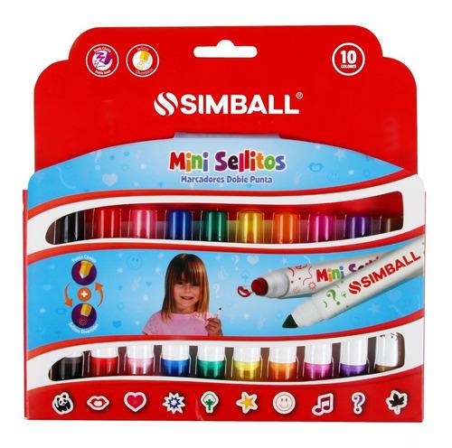 Mini Marcadores Doble Punta Con Sellitos 10 Colores Simball