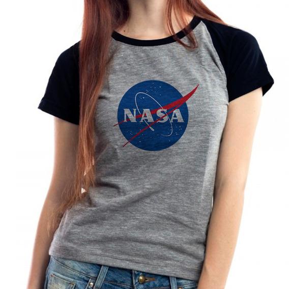 Camiseta Nasa Geek Nerd Cosplay Raglan Mescla Babylook