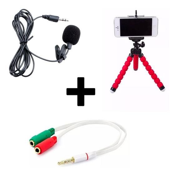 Kit Youtuber Tripé + Microfone Lapela + Adaptador