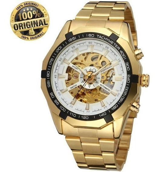 Relógio Mecânico Winner Forsining Tm 340 Dourado