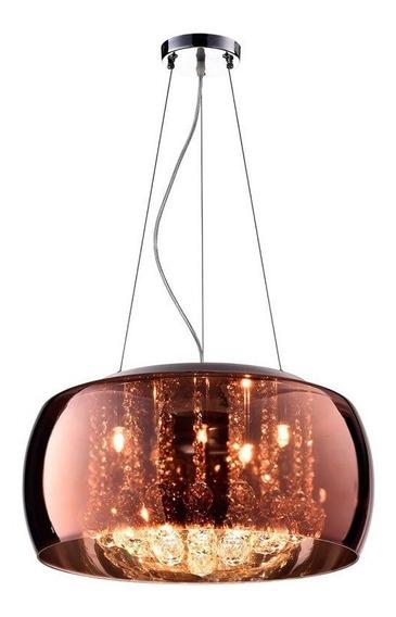 Lustre Pendente Cristal E Vidro Cobre- 40cm Pd002co