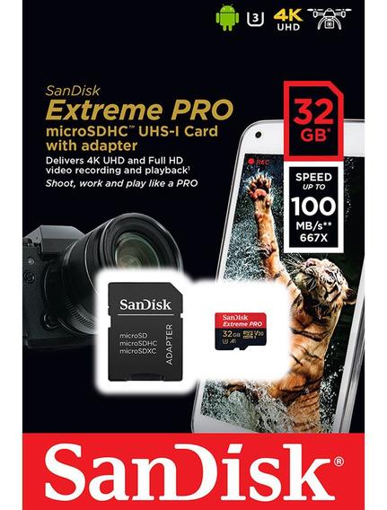 Cartão Microsd Sdhc-uhs 32gb Sandisk Extreme Pro Gopro 23456
