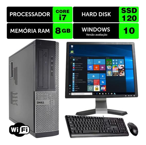 Computador Usado Dell Optiplex Int I7 2g 8gb Ssd120 Mon17q