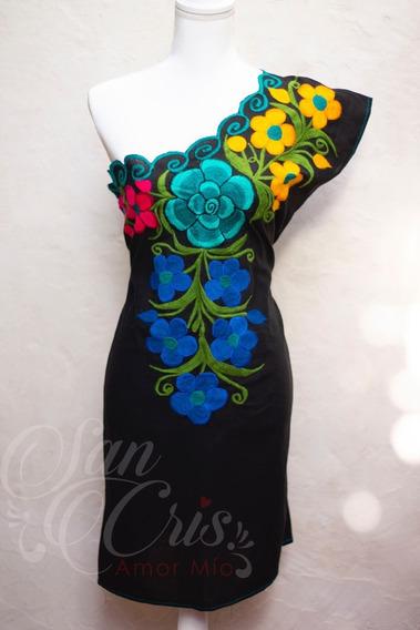 Casuales Vestidos Artesanales Bordados De Flores De Chiapas