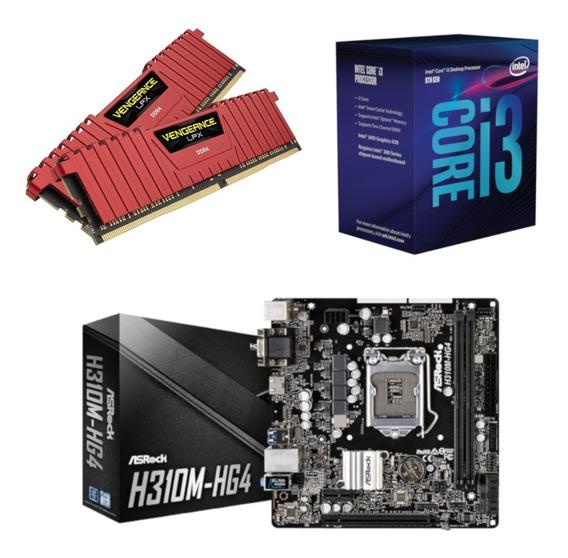 Kit Intel I3 8100 + Asrock H310m Hg4 + Vg 16gb 2400