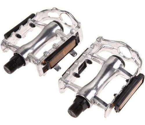 2 Pedales Aluminio Con Reflejante Para Bicicleta Plata D1145