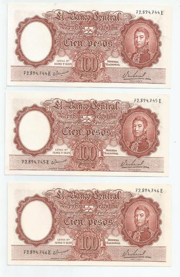 Antiguos Billetes Argentinos Numerac. Consecutiva, Sin Uso!!