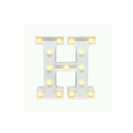 Luminaria Abajur Letra H C/ Luz Led A Pilha Mesa E Parede