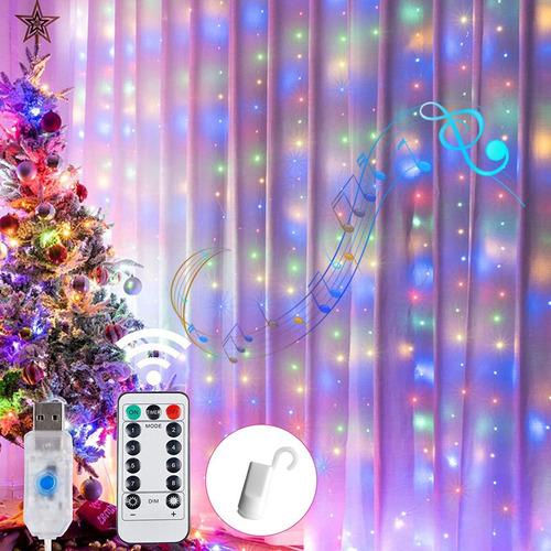 Imagen 1 de 7 de Luz De Cortina Led Voz Activada Usb Navidad Rgb Luces 3x3m