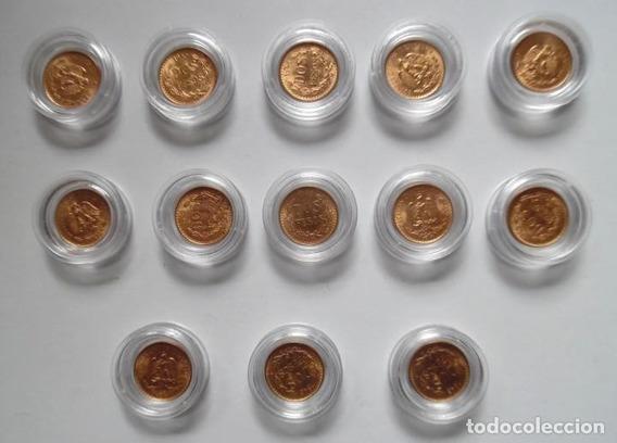 13 Monedas De $2 Pesos , Oro Fam Centenario 22k Arras Boda