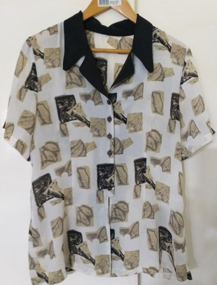 Blusa Camisa Mujer De Vestir Estampada Lage