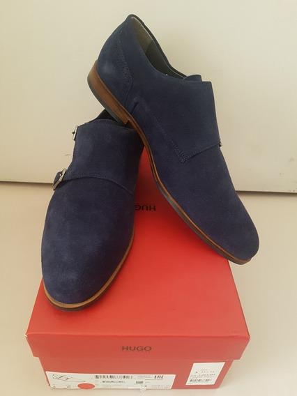 Zapatos Hugo Boss Azul Marino Gamuza Tipo Monkstrap Suela De Cuero Muy Cómodos Talla 12 Us - 11 Uk Ó 10 México !!