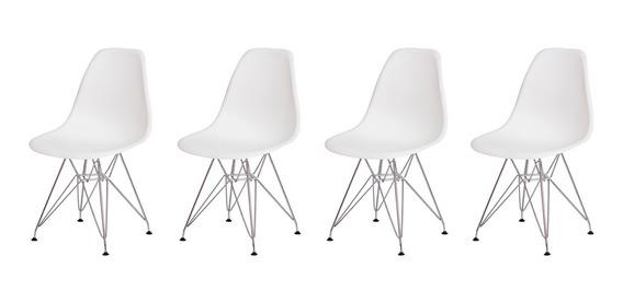 Conjunto Kit 4 Cadeiras Charles Eiffel Eames Design Base Cromada Várias Cores Sala Jantar Cozinha
