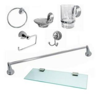 Accesorios Baño Set 7 Piezas Incluye Repisa Vidrio Oferta!!
