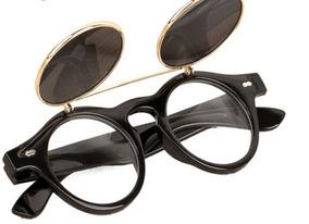 c0d702649 Óculos Sol Redondo Lente Armação Dupla Flip Proteção Uv400