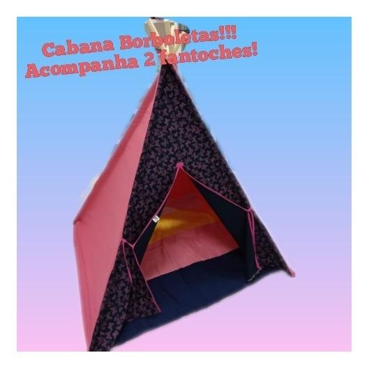 Cabana Borboletas Infantil 120x160 Com 2 Fantoches Ciabrink