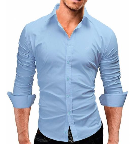 Camisa Social Manga Longa Slim Fit - 100% Algodão