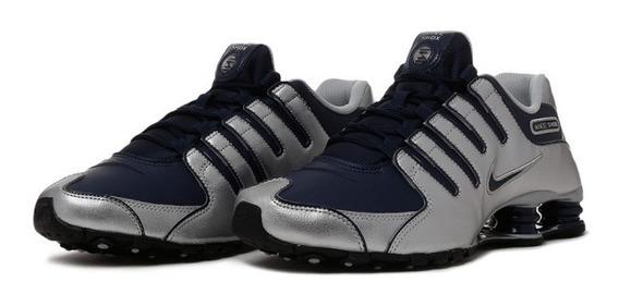 Tênis Nike Shox Nz Prata E Azul Original